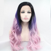 Heat Resistant Fibre Hair mermaid dark root ombre black purple to pink body wave Synthetic lace front wig for women.