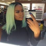 Kylie Jenner Heat Resistant Fibre Hair balck to mint green bob dark root Synthetic lace front wig for women.