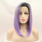 Kylie Jenner Heat Resistant Fibre Hair balck to purple bob dark root Synthetic lace front wig for women.