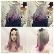Kylie Jenner Heat Resistant Fibre Hair ombre balck grey to purple dark root Synthetic lace front wig for women.