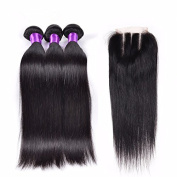 Miss Kiss Brazilian Straight Human Hair 3 Bundles with Lace Closure Unprocessed Brazilian Hair Weave with Closure Remy Hair with Baby Hair Closure Brazilian Virgin Hair Straight Extensions