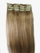 Women 38cm ~80cm Remy Clips in Human Hair Extensions Straight Hair 70g/100g/140g Mixed Colour #27/613