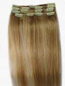 Women 38cm ~80cm Remy Clips in Human Hair Extensions Straight Hair 70g/100g/140g Mixed Colour #12/613