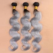 Grace Plus 7A Ombre T1B/Grey Hair Extensions Boby Wave 3 Pcs/Lot Brazilian Grey Hair Weave