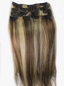 Women 38cm ~70cm Remy Clips in Human Hair Extensions Straight Hair 70g/100g/140g Mixed Colour #6/613