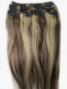 Women 38cm ~70cm Remy Clips in Human Hair Extensions Straight Hair 70g/100g/140g Mixed Colour #4/613