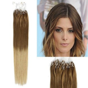 Sunny Ombre Hair Extensions Chocalate Brown to Blonde Dip Dye Micro Loop Hair Extension 50strands 50g/pack 46cm Silky Straight Remy Human Hair