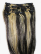 Women 38cm ~70cm Remy Clips in Human Hair Extensions Straight Hair 70g/100g/140g Mixed Colour #2/613