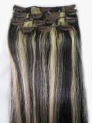 Women 38cm ~70cm Remy Clips in Human Hair Extensions Straight Hair 70g/100g/140g Mixed Colour #1B/613