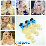 ATOZHair Peruvian Body Wave Ombre Hair Extensions 3 Bundles Peruvian Ombre Hair 2 Tone #1B/613 Blonde Ombre Human Hair Weave