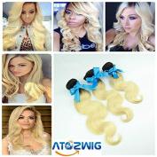 ATOZHair Peruvian Body Wave Ombre Hair Extensions 3 Bundles Peruvian Ombre Hair 2 Tone #1B/613 Blonde Ombre Human Hair Weave