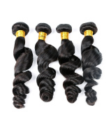 Ruini Virgin Hair Loose Weave Natural Colour Peruvian Human hair weft weave Extensions (12 14 16 18Inch) 420ml 4 PCS/Lot
