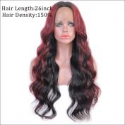 150 Density Omber Red Wavy Brazilian Virgin Human Hair Full Lace Wigs For Black Women