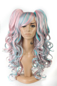 Netgo Women Long Curly Cosplay Party Wig Colourful Heat Resistant Hair Fashion Wig