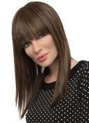 Modotop Women's Gradient Brown Long Straight Hair Heat Resistant Fibre Synthetic Wigs Swept Bangs Full Sexy Stylish Fluffy Wigs