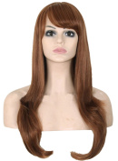Modotop Women's Brown Long Straight Hair Heat Resistant Fibre Synthetic Wigs Swept Bangs Full Sexy Stylish Fluffy Wigs