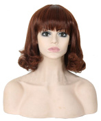 Modotop Women's Brown Long Curly Hair Heat Resistant Fibre Synthetic Wigs Swept Bangs Full Sexy Stylish Fluffy Wigs