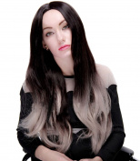 Modotop Women's Long Straight Hair Gradient Black to White Heat Resistant Fibre Synthetic Wigs Swept Bangs Full Sexy Stylish Fluffy Wigs