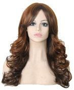 Modotop Women's Brown Long Wavy Hair Heat Resistant Fibre Synthetic Wigs Swept Bangs Full Sexy Stylish Fluffy Wigs