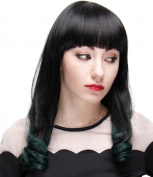 Modotop Women's Gradient Black to Green Long Straight Hair Synthetic Wigs Swept Bangs Full Sexy Stylish Fluffy Wigs