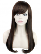 Modotop Women's Brown Long Straight Hair Synthetic Wigs Swept Bangs Sexy Stylish Fluffy Wigs