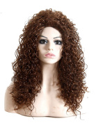 Modotop Women's Long Curly Hair Heat Brown Resistant Fibre Synthetic Wigs Swept Bangs Full Sexy Stylish Fluffy Wigs