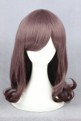 Prettybuy 38cm Synthetic Rinka Haircut Wig Straight Hair with Bangs with Curly Wave Edge Wig Lolita Style Harajuku Cute Adorable Wig Heat Resistance Fibre Wig for Daily Use, Cosply, Parties and Halloween