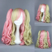 Prettybuy 48cm Synthetic Gradient Colour Mixed Pink and Blonde Hair Shoulder Length Curly Wave Hair with Bangs with Two Curly Wave Hair Ponytails Lolita Style Harajuku Cute Adorable Wig Heat Resistance Fibre Wig for Daily Use, Cosply, Parties and Hallo ..