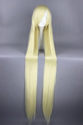 Prettybuy 130cm Synthetic Blonde Long Straight Hair with Bangs Lolita Style Harajuku Cute Adorable Wig Heat Resistance Fibre Wig for Daily Use, Cosply, Parties and Halloween
