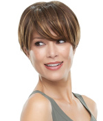 Modotop Women's Brown Short Straight Heat Resistant Synthetic Hair Swept Bangs Sexy Stylish Wigs