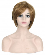 Modotop Female Brown Short Straight Heat Resistant Synthetic Hair Swept Bangs Sexy Stylish Fluffy Wig
