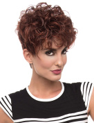Modotop Women Gradienet Brown and Red Short Curly Heat Resistant Synthetic Hair Swept Bangs Sexy Stylish Wig