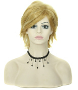 Modotop Women Light Blonde Short Straight Heat Resistant Synthetic Hair Swept Bangs Sexy Stylish Fluffy Wig