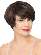 Modotop Women Gradient Dark Brown Short Straight Heat Resistant Synthetic Hair Swept Bangs Bob Sexy . Wig