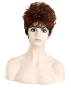 Modotop Women Gradient Brown Red Short Straight Heat Resistant Synthetic Hair Swept Bangs Sexy Stylish Wig