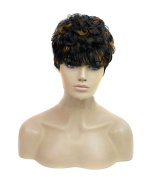Modotop Women Gradient Brown and Black Short Straight Heat Resistant Synthetic Hair Swept Bangs Sexy Stylish Wig