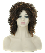 Modotop Women Gradient Brown and Black Long Curly Heat Resistant Synthetic Hair Swept Bangs Bob Sexy Stylish Wig