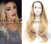 Heahair® Fashion Ombre Dark Root Blonde Wave Synthetic Lace Front Wigs for Woman