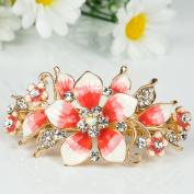 Beautyxyz New high quality flower gold tone metal fashion crystal hair claw clip Barrette