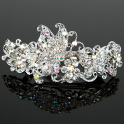 Beautyxyz Woman's new butterfly silver plated metal rhinestone wedding hair clip Barrette