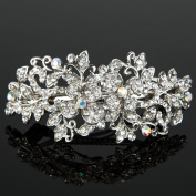 Beautyxyz Woman's new Flower silver plated metal rhinestone wedding hair clip Barrette