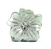 CHRYSE SMALL FLORAL RHINESTONE HAIR CLAMP CLAW CLIP BARRETTE C727 GREEN