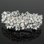 Beautyxyz Woman's Flower silver plated metal rhinestone wedding hair clip Barrette