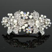 Beautyxyz Womans New beautiful elegant wedding bridal barrette pearl & crystal hair clip