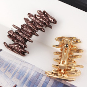 Face Forever 2 Colours Ponytail Holder Statement Clip Meteorite Style Basic Spring Metal Hairpin Brown and Gold 2 colours