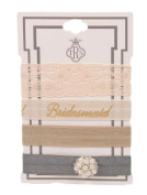 """TRS Delicate """"Bridesmaid"""" Hair Ties Set Taupe, Lace, Grey Stretch Hair Ties"""