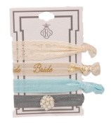"""TRS Delicate """"Bride"""" Hair Ties Set Taupe, Lace, Grey Stretch Hair Ties"""