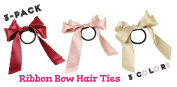 Ribbon Bow Hair Ties, 3 PACK | Elastic Hair Ties with Large, Silky Ribbon Bows, Perfect for Adding Stylish and Colourful Elegance to Ponytails and Other Hairstyles