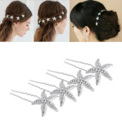YUETON Pack of 10 Bride Crystal Rhinestone Starfish Hair Pin Hair Jewellery Hair Accessories Women Headwear Headdress for Beach Themed Wedding,Party, Daily Use