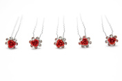 Trimming Shop Rose Flower Crystal Bridal Wedding Prom Hair Pins Clips Red